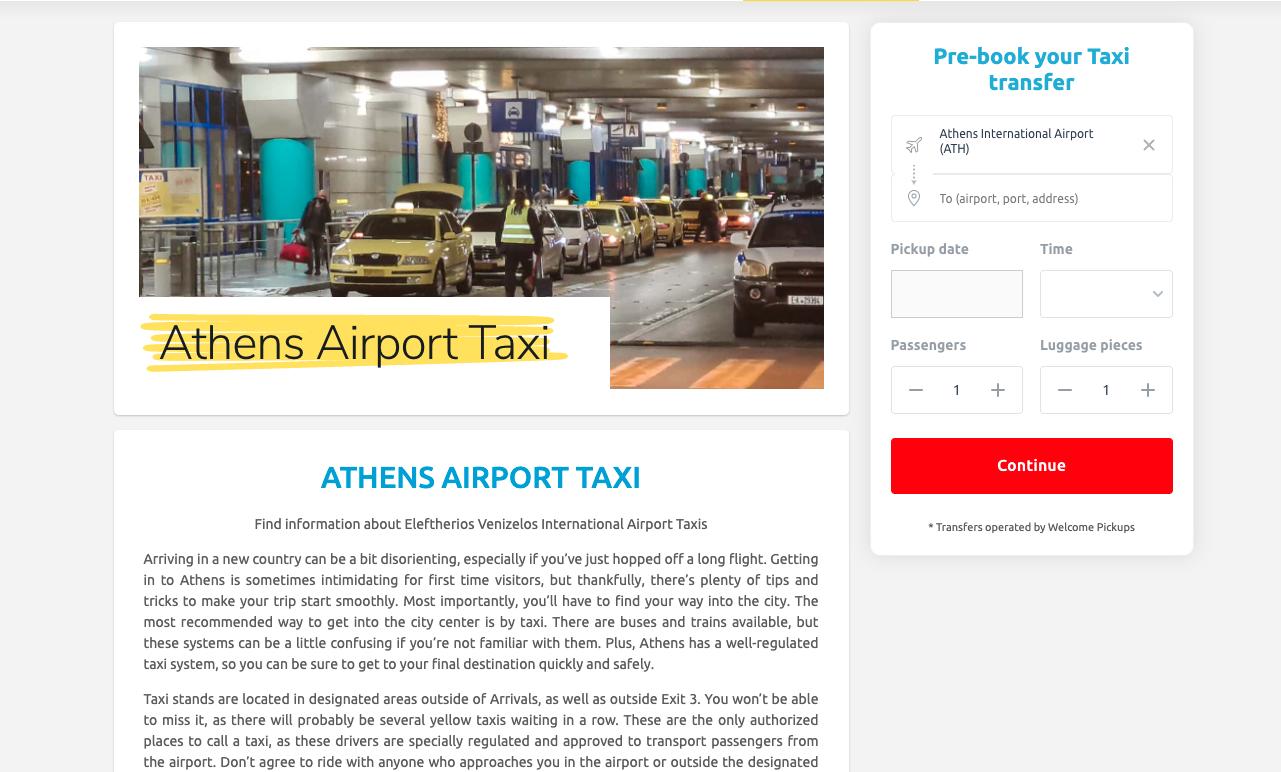 Athens airport taxi widget